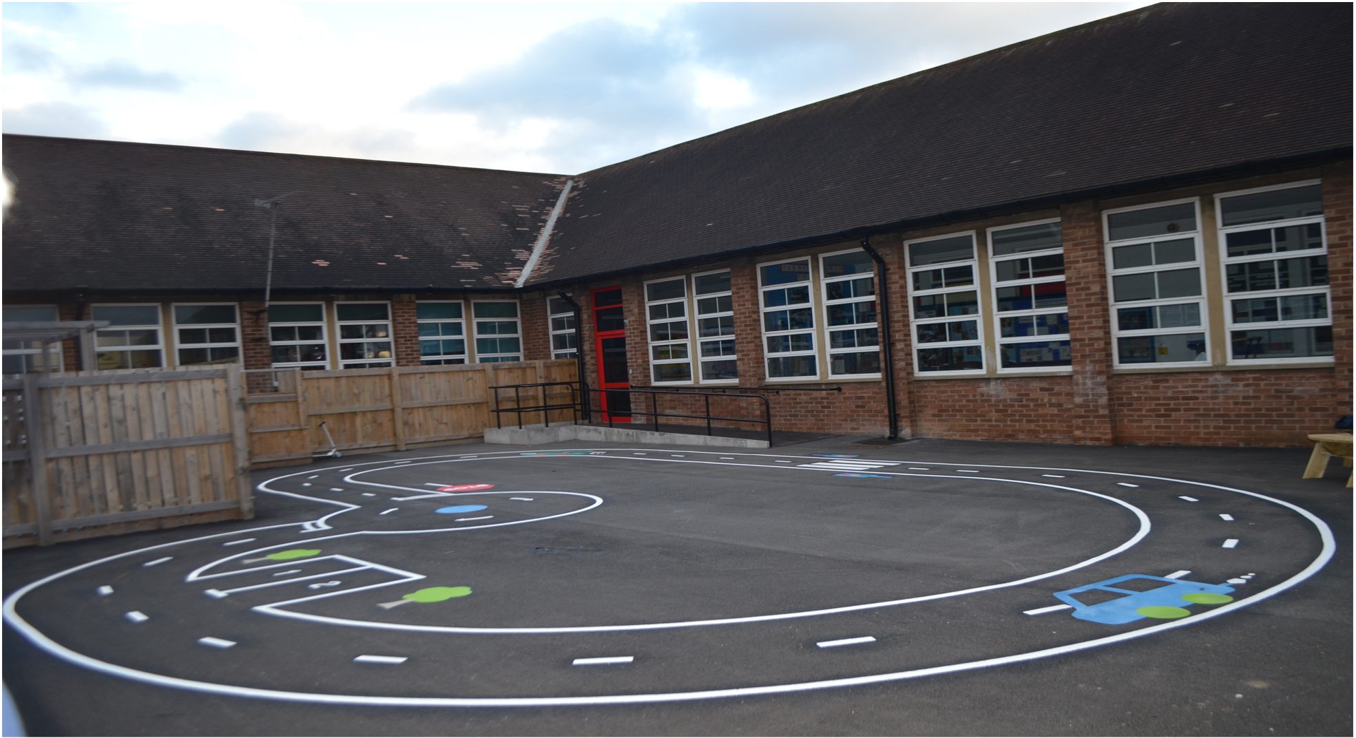 Playground markings Cycle track  installed at Woodlawn school Newcastle.