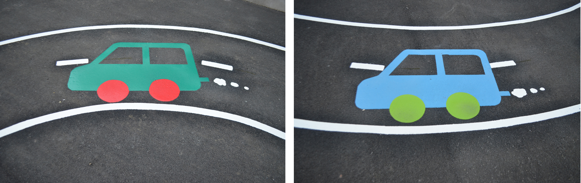 Playground markings cars