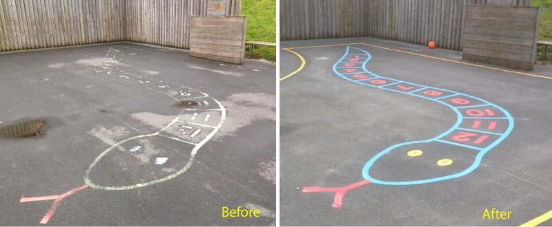 Relining old playground markings