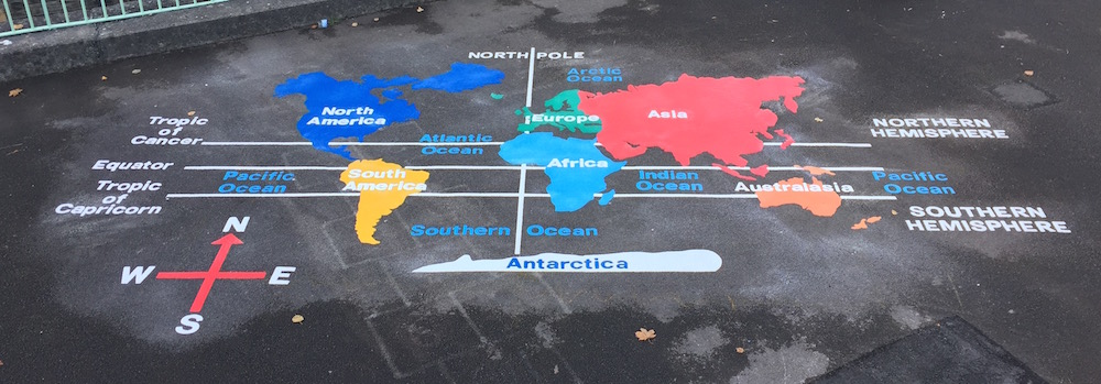 World map for school playgrounds
