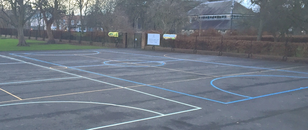 Football pitch and netball court in North Shields