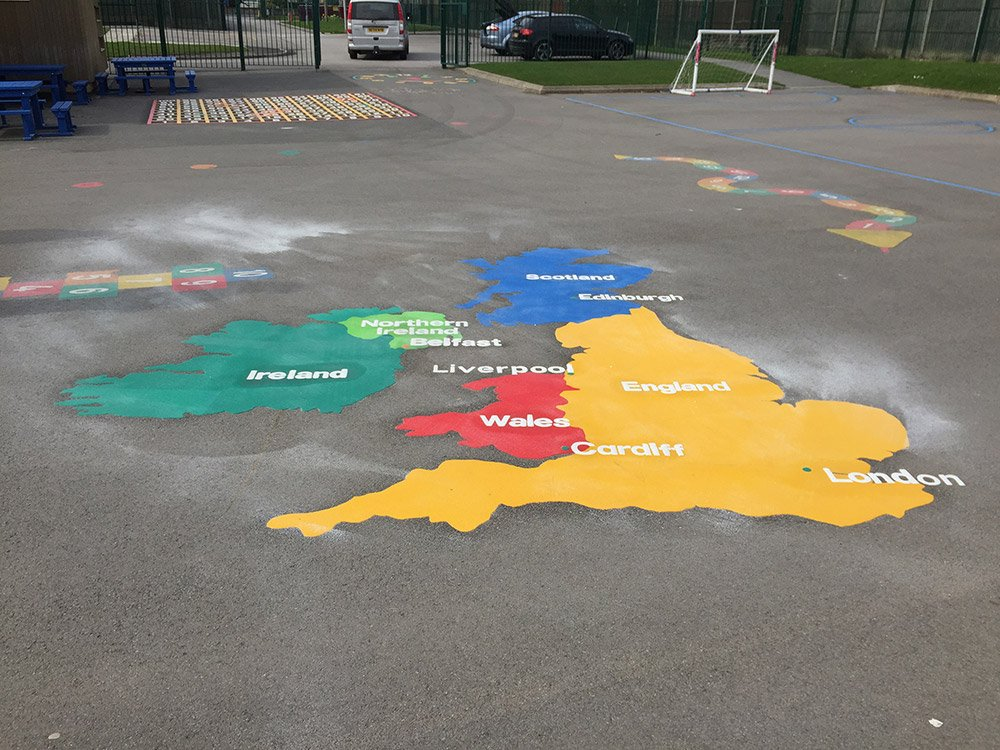 Map Of Uk Key Stage 1.Playground Markings New Geography Curriculum First4playgrounds