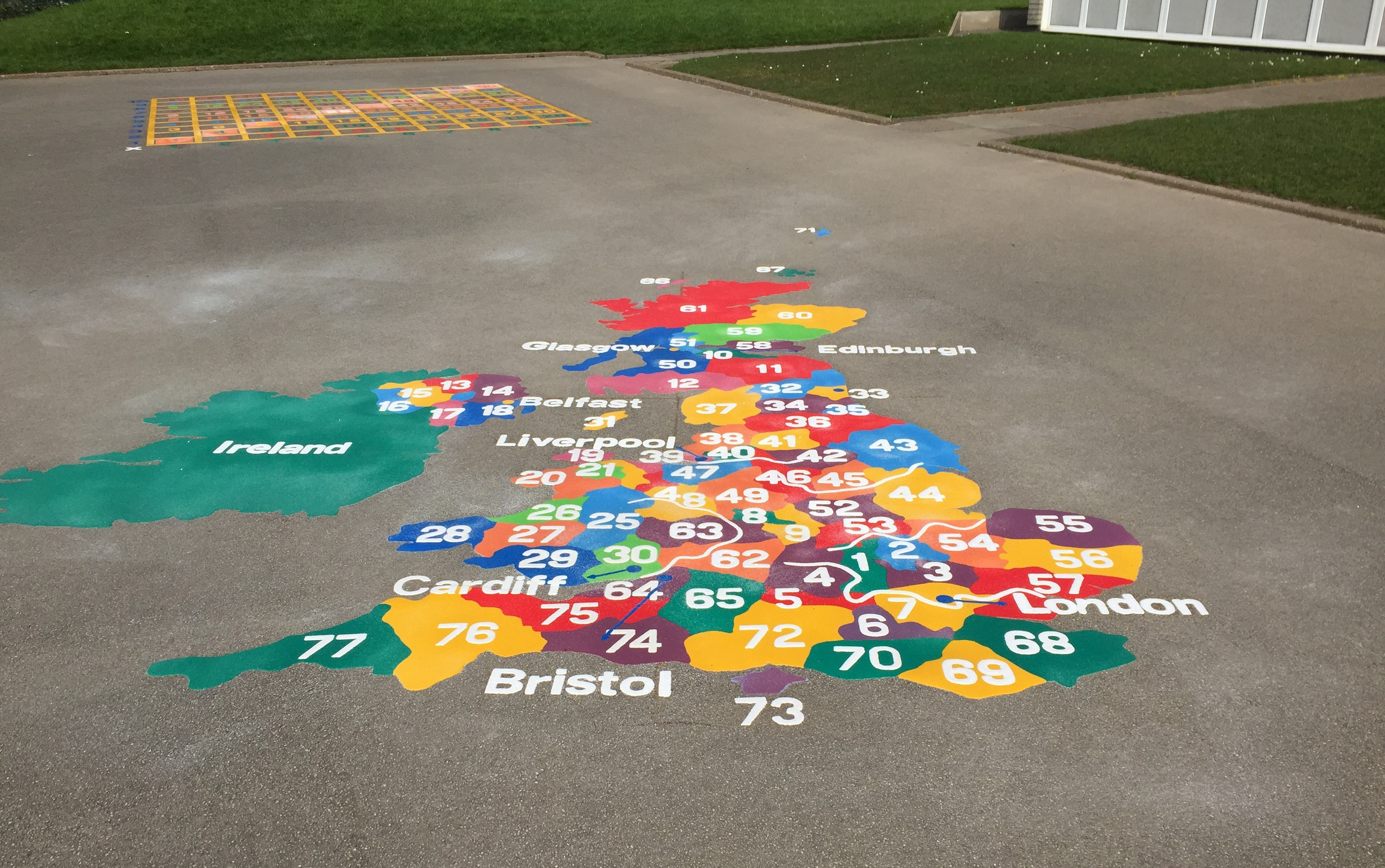 Playground markings new geography curriculum first4playgrounds key stage 2 world map ks2 uk map with counties playground markings gumiabroncs Choice Image