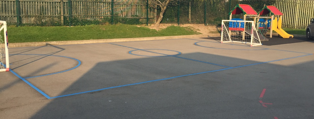 Playground football pitch markings designed for St Josephs Infants School in Liverpool