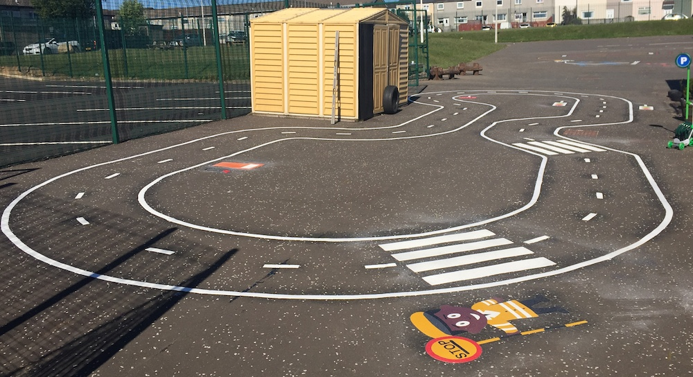 Bike track at Holytown Primary School, Motherwell in Scotland