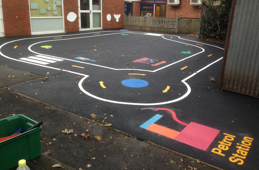 Road track at Spire infants school Derbyshire