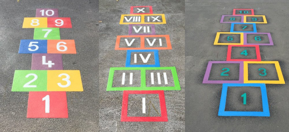 Three Different Hopscotch Playground Marking Styles By