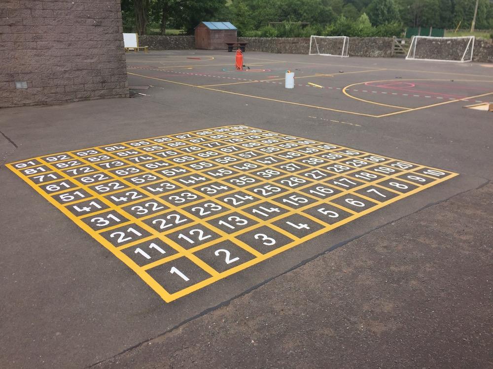 1-100 playground line grid