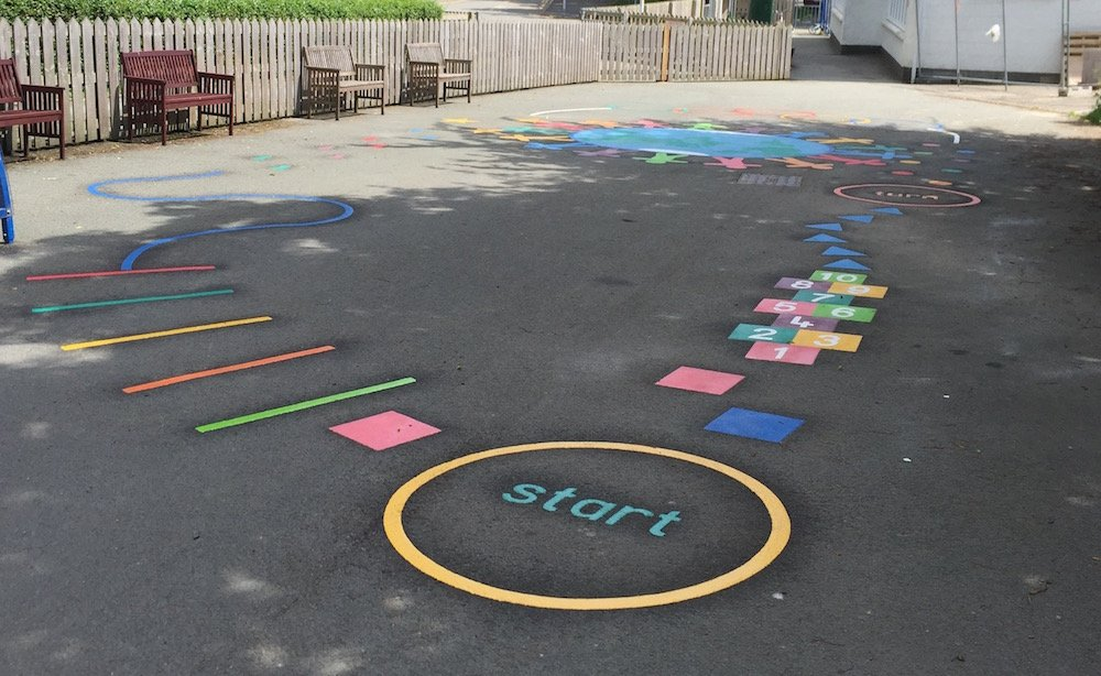 New Playground Markings For A Primary In Wales