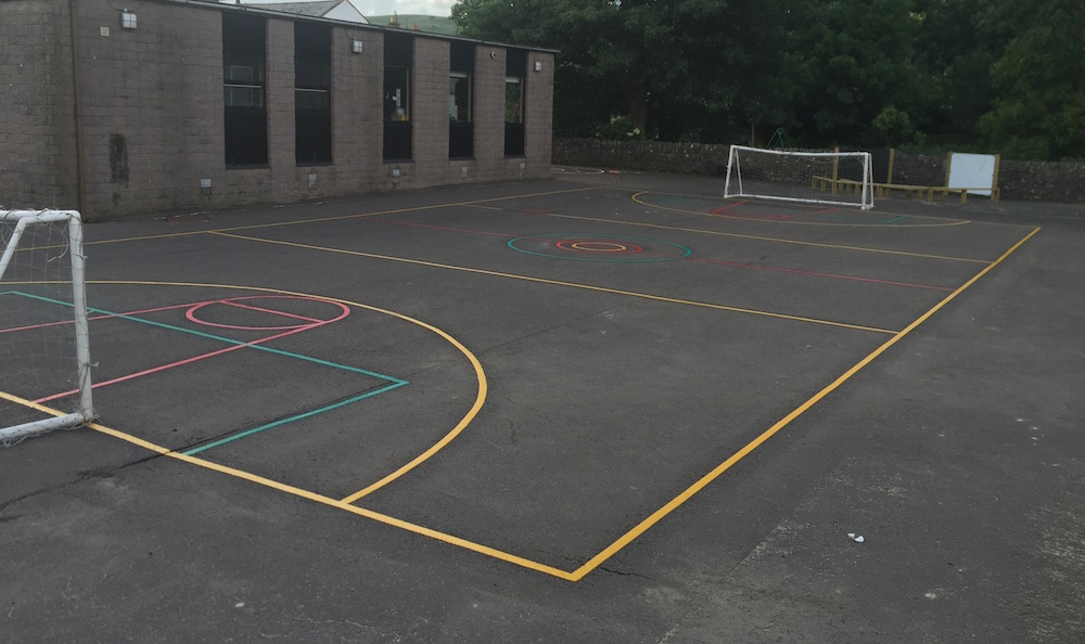 Multi court with netball, football and basketball