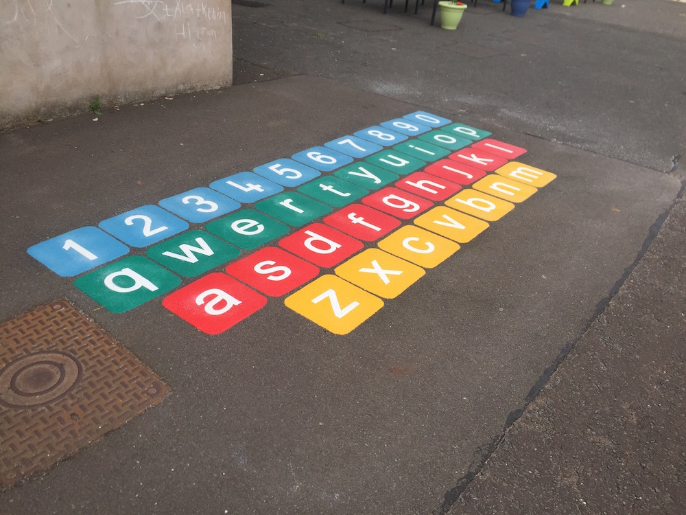 Qwerty keyboard playground marking