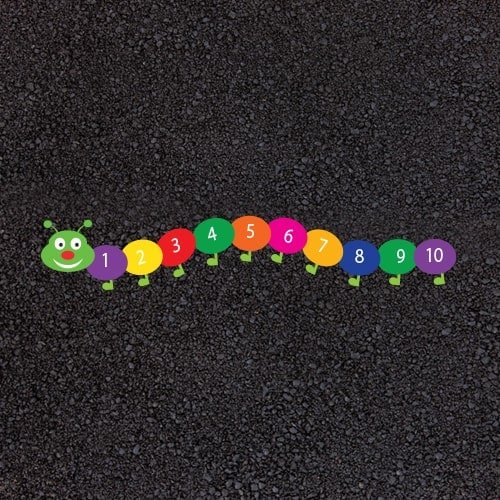 Playground Markings - Numeracy and Literacy - 1-10 Catepillar Example