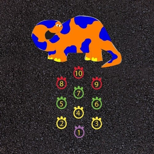 Playground Markings - Traditional Games - 1-10 Dinosaur Hopscotch Example