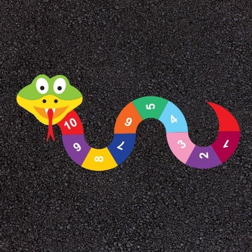 Playground Markings - Numeracy and Literacy - 1-10 Snake Example