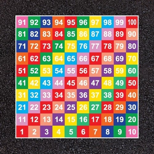 Playground Markings - Board Games and Grids - 1-100 Solid Numbers Grid Example