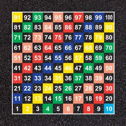 1-100-Half-Solid-GridPlayground Markings - Board Games and Grids - 1-100 Numbers Grid Example-500x500