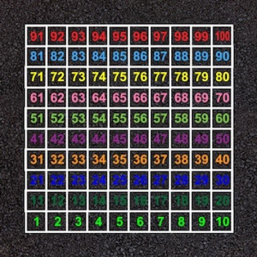 Playground Markings - Board Games and Grids - 1-100 Number Grid Lines Example