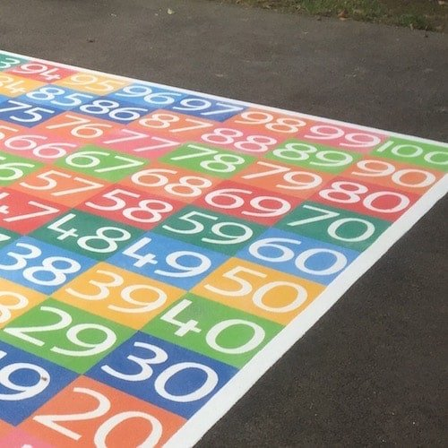 Playground Markings - Board Games and Grids - 1-100 Solid Numbers Grid On Site Detail