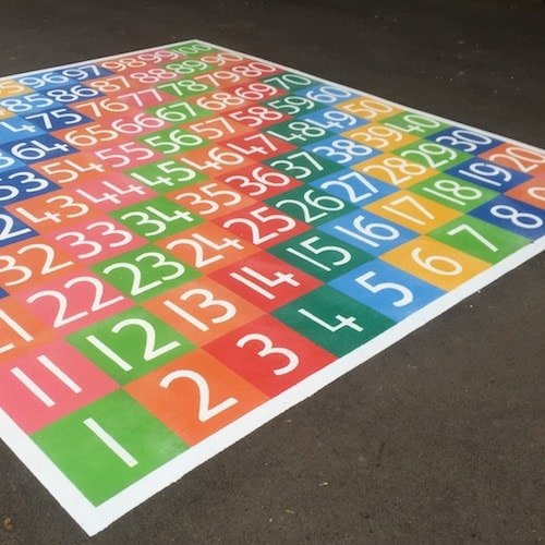 Sunshine at Stakeford – Playground Markings - Board Games and Grids - 1-100 Solid Numbers Grid On Site