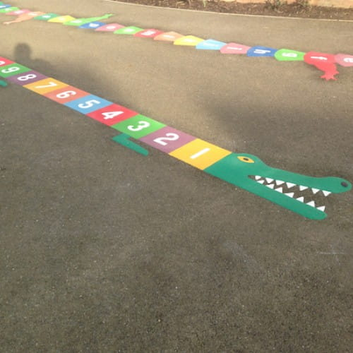 Playground Markings - Numeracy and Literacy - 1-25 Crocodile On Site
