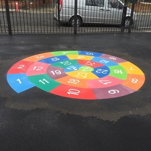Playground Markings - Numeracy and Literacy - 1-25 Spiral On Site
