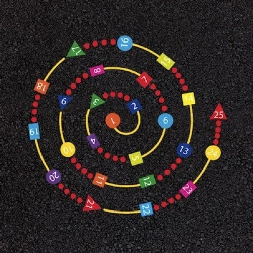 Playground Markings - Numeracy and Literacy - 1-25 Spiral Example