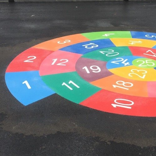 Playground Markings - Numeracy and Literacy - 1-25 Spiral Close Up