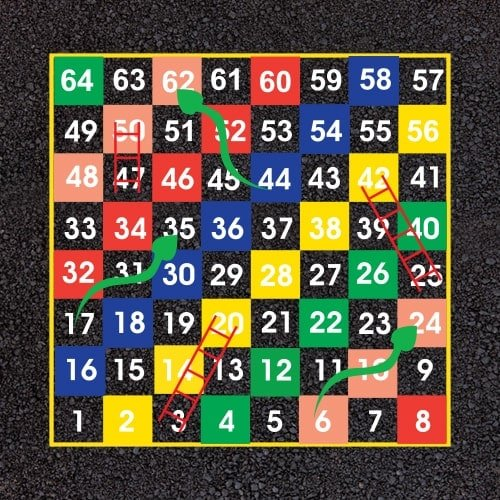 Playground Markings - Board Games and Grids - 1-64 Snakes and Ladders example