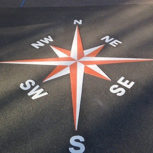 Playground Markings - Maps and Compasses - Rose Compass On Site