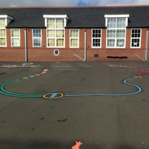 Playground Markings - Circuits Tracks and Trails - 30m Activity Trail On Site At Newcastle