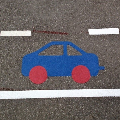 Playground Markings - Circuits Tracks and Trails - Blue Car On Site
