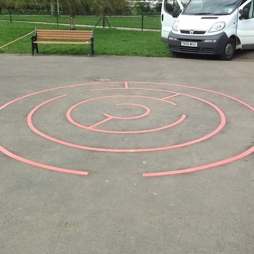 Playground Markings - Targets and Mazes - Circular Maze On Site