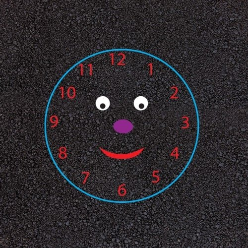 Playground Markings - Maps and Compasses - Smiley Face Clock Example