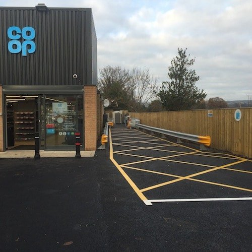 Playground Markings - Road Markings - No Parking Hatching Area At Co-op Loading Bay