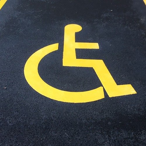 Playground Markings - Road Markings - Disabled Parking Bay On Site Hexham Detail