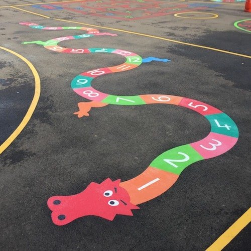 Playground Markings - Numeracy and Literacy - 1-10 Dragon On Site
