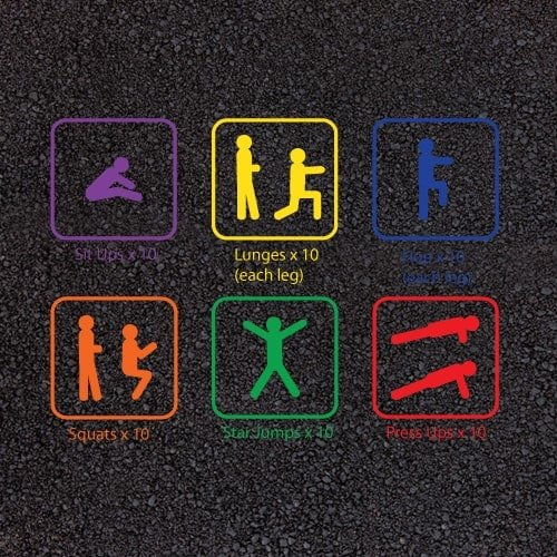 Playground Markings - Circuits Tracks and Trails - Fitness Trail Exercises Example