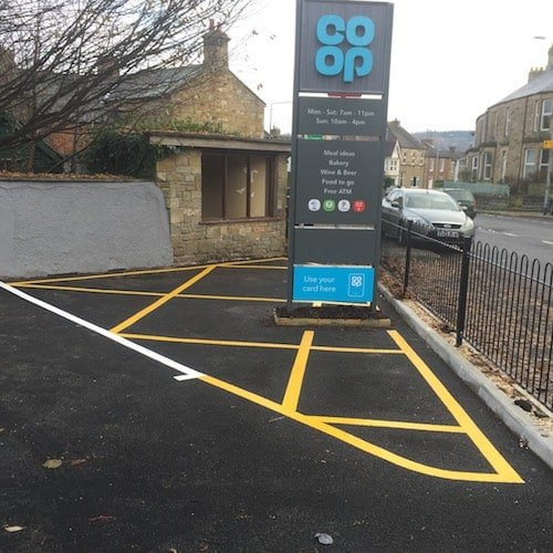 Playground Markings - Road Markings - No Parking Hatching Area Around Co-op Sign