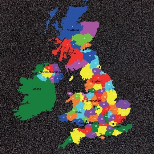 Key Stage 2 UK Map with counties