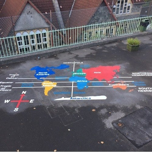 Playground Markings - Maps and Compasses - Key Stage 2 World Map On Site