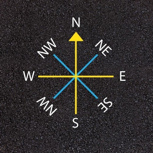 Playground Markings - Maps and Compasses - Line Compass Example