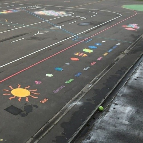 Playground Markings - Maps and Compasses - The Solar System On Site At Peterlee