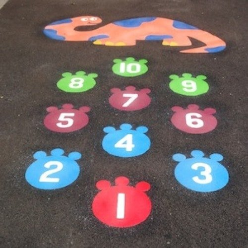 Playground Markings - Traditional Games - 1-10 Dinosaur Hopscotch On Site