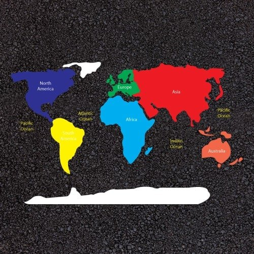 Playground Markings - Maps and Compasses - World Map Continents Example