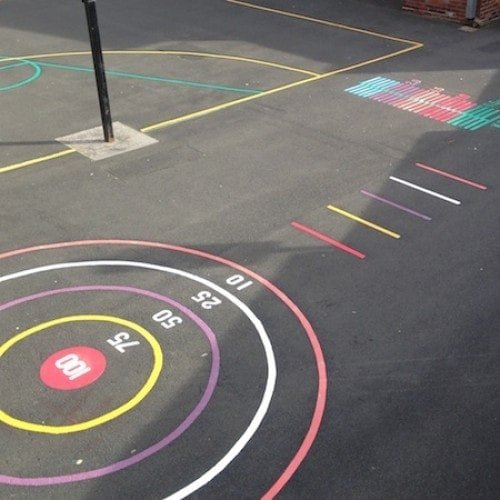 Playground Markings - Targets and Mazes - 4 Meter Throw Target On Site