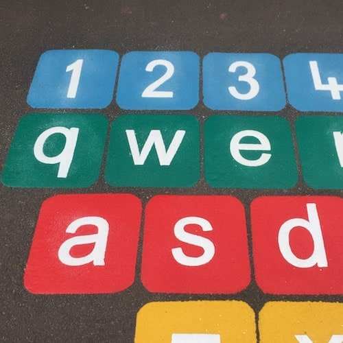 Playground Markings - Numeracy and Literacy - Qwerty Keyboard Close Up