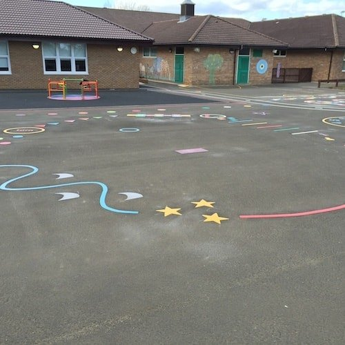 Playground Markings - Circuits Tracks and Trails - Shark Trail On Site