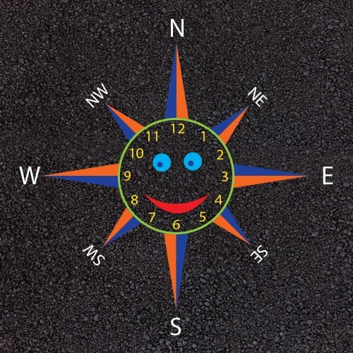 Playground Markings - Maps and Compasses - Smiley Face Clock Compass