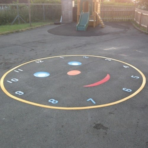 Playground Markings - Maps and Compasses - Smiley Face Clock On Site