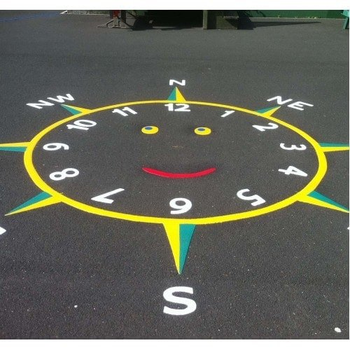 Playground Markings - Maps and Compasses - Smiley Face Clock Compass On Site